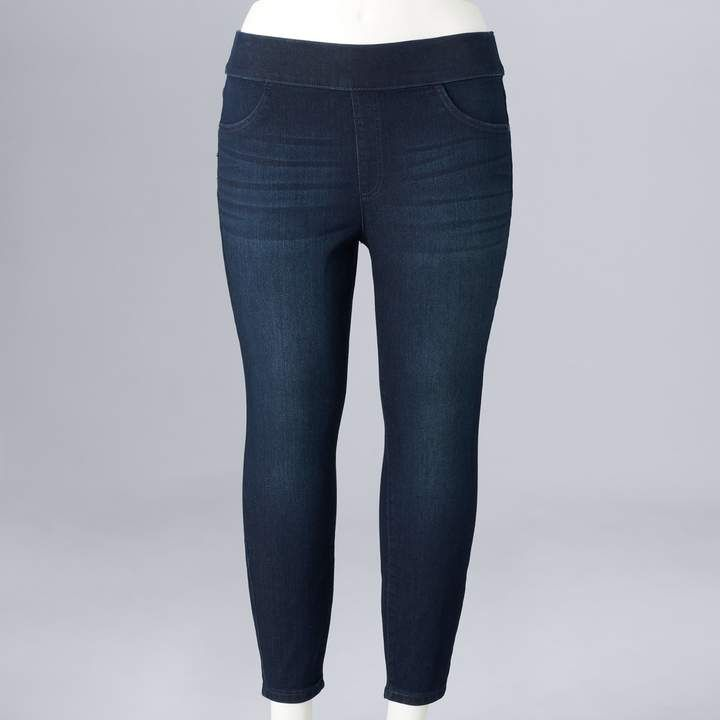 popular style special sales reliable quality Plus Size Simply Vera Vera Wang Pull-On Capri Jeggings ...