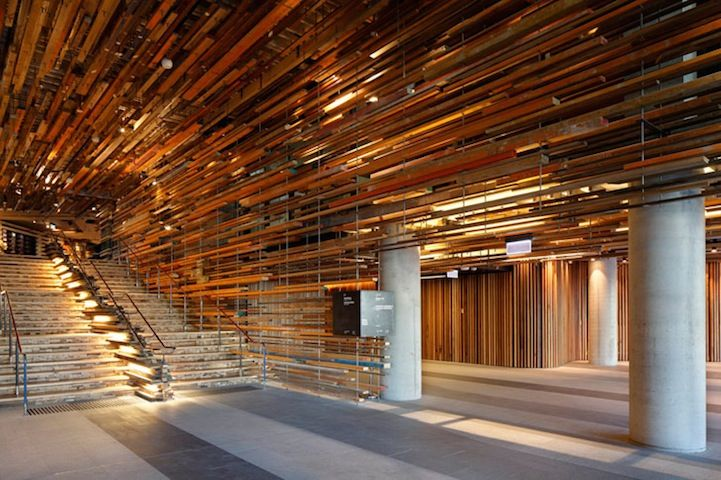 2,000 Pieces of Reclaimed Wood Form a Textured Ceiling - 2,000 Pieces Of Reclaimed Wood Form A Textured Ceiling Modern