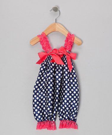 Take a look at this Navy & Strawberry Polka Dot Bubble Romper - Infant by Whitney Elizabeth on #zulily today!