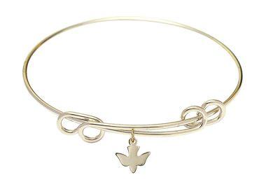 Gold-Filled Round Double Loop Bangle Bracelet - Holy Spirit charm - 8.5 inch (B4202RG-0225GF)