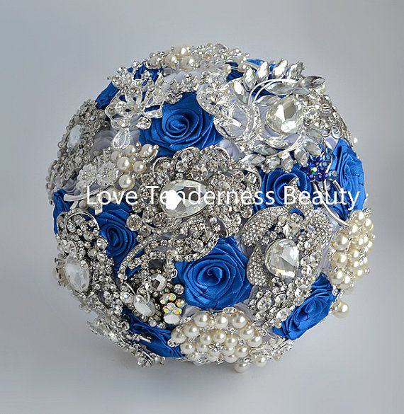 Royal Blue And Silver Wedding Flowers: Royal Blue Brooch Bouquet Blue And Silver Wedding By