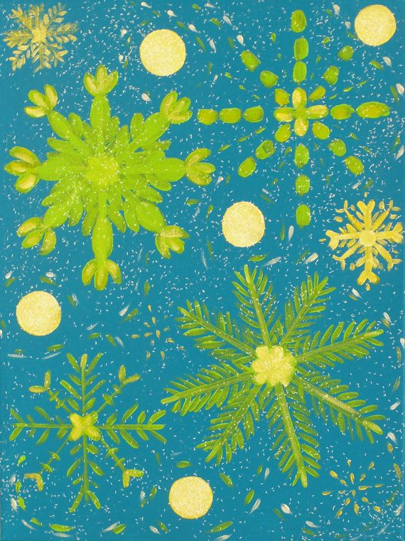 Green and Turqoise Snowflake Decorative Holiday by ADoorArt, $35.00