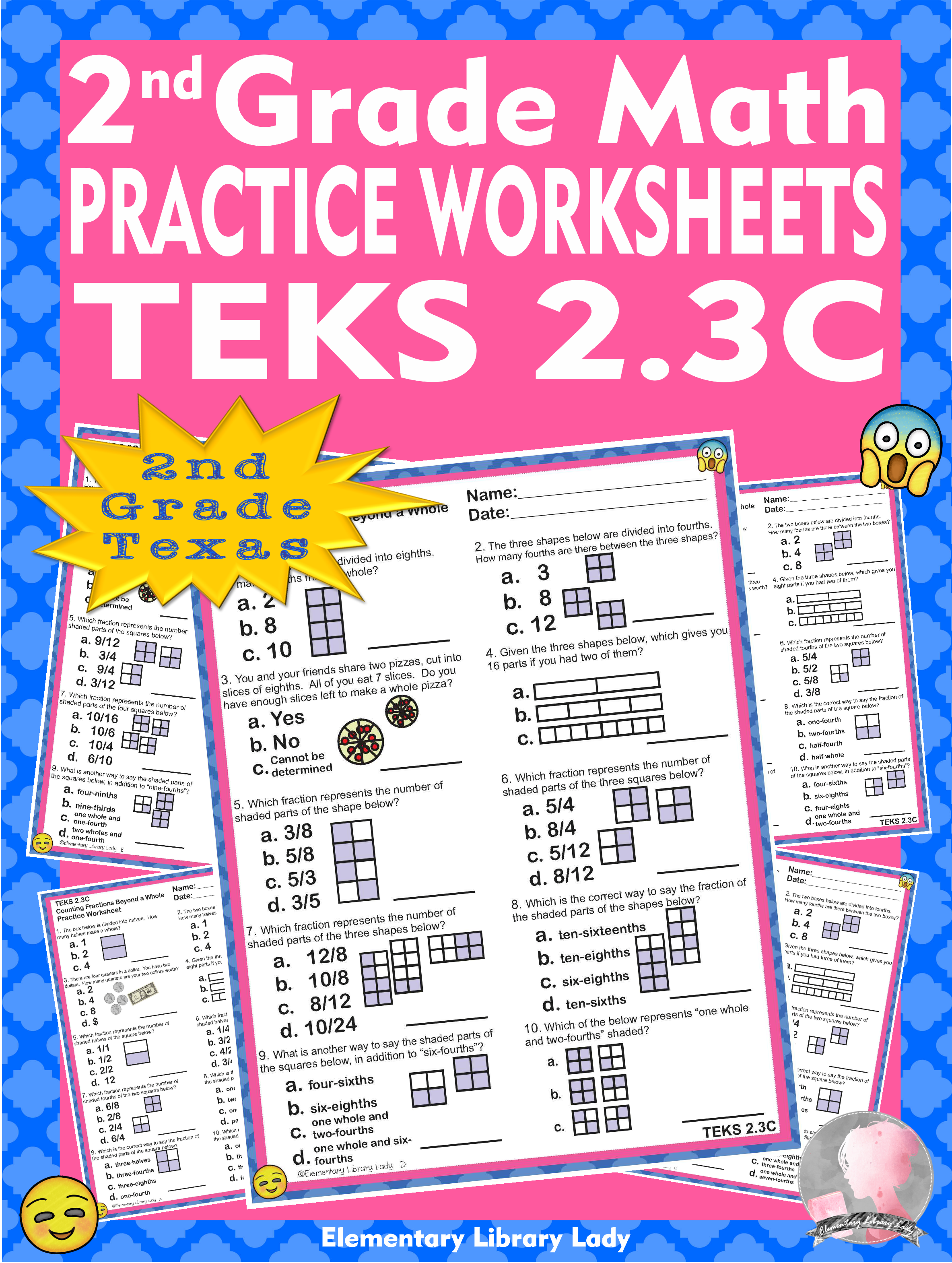 Math TEKS 2.3C Texas 2nd Grade Practice Worksheets Counting Fractions  Beyond a Whole   Math teks [ 3138 x 2366 Pixel ]