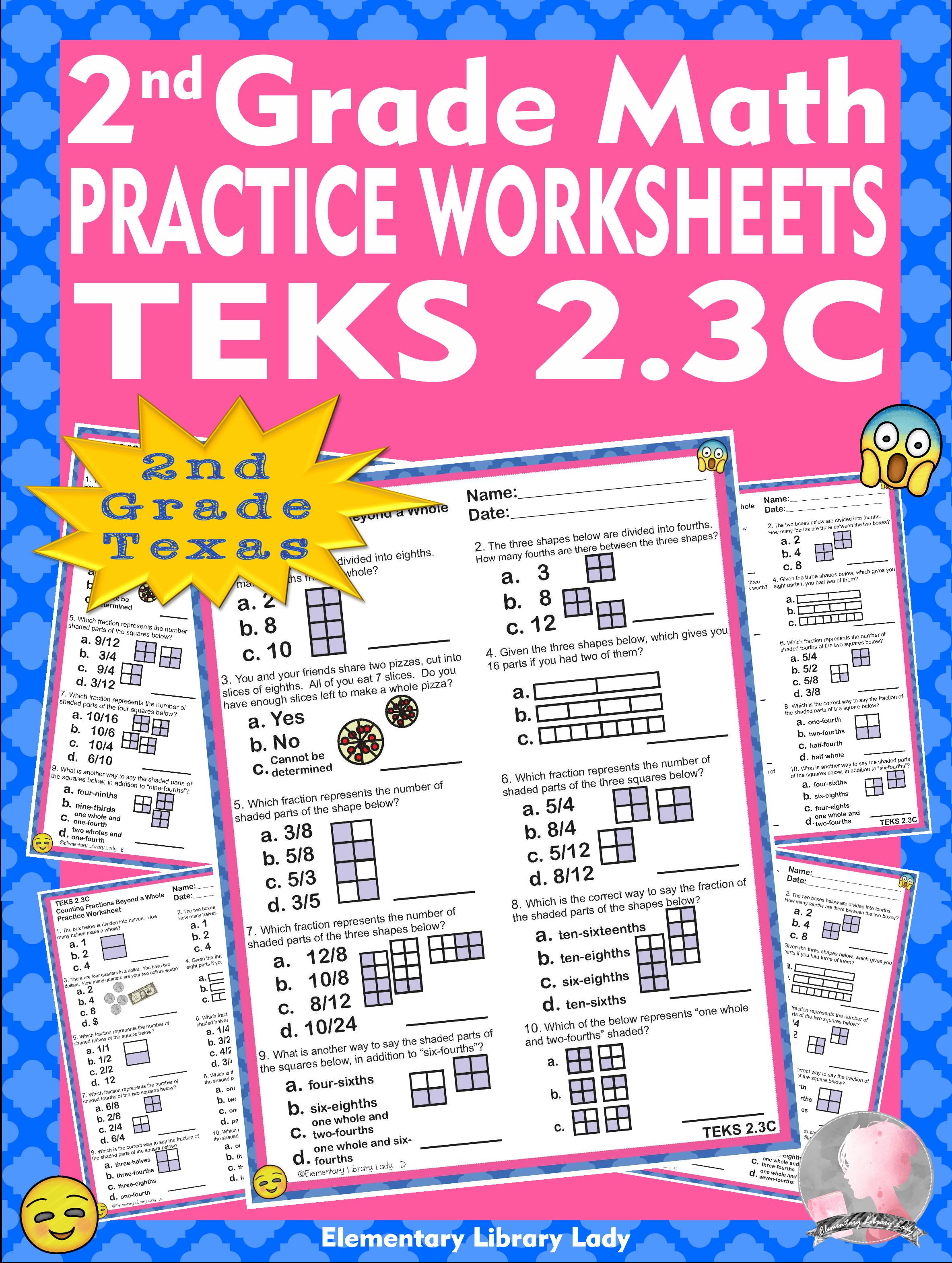 Math Teks 2 3c Texas 2nd Grade Practice Worksheets