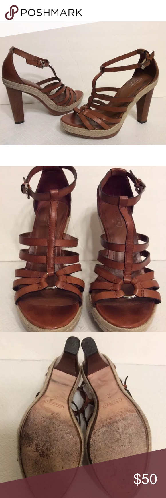 "Coach Platform Heels Size 8 Coach Delanie Platform Heels Size- 8M Color- Cognac Brown Cute platform leather sandals with wooden heel measuring approx. 4.5"" sitting on a 1"" platform, strappy design, leather sole, adjustable ankle strap.  In great shape no major wear, please look at all pictures  THANK YOU FOR YOUR INTEREST Coach Shoes Platforms"
