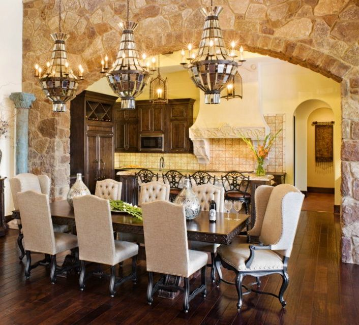16 Absolutely Gorgeous Mediterranean Dining Room Designs: Love The Arched Stone Wall And Table Chairs