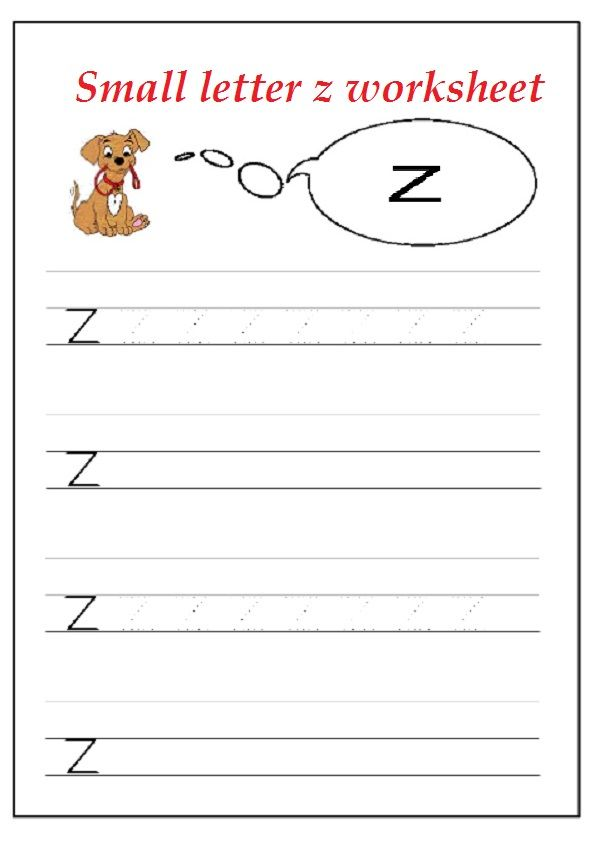Lowercase Letter Z Worksheet / Free Printable - Preschool and ...