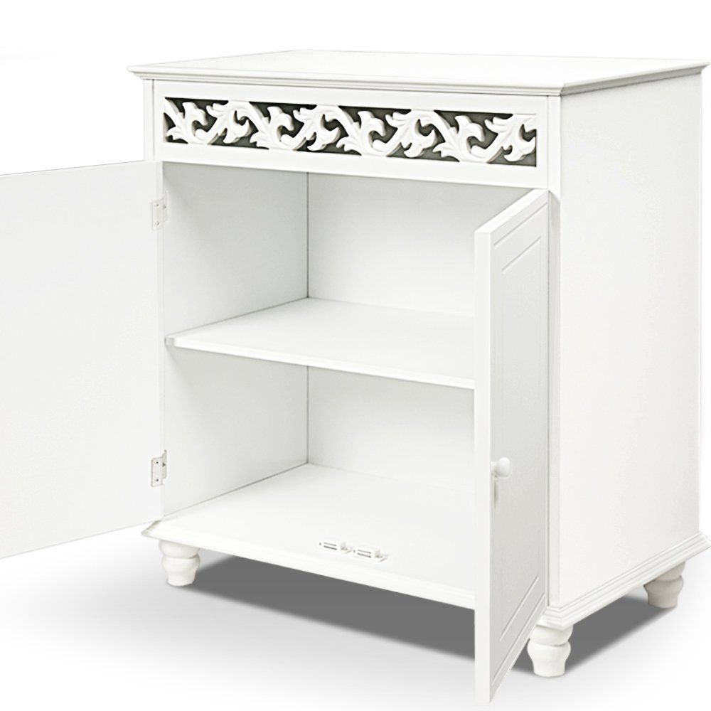 White wooden cupboard cabinet sideboard 2 doors furniture freestanding: Amazon.co.uk: Kitchen & Home
