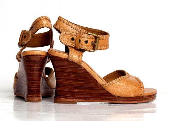 SALE. Sz. 8. WAVE.  Wedge sandals / leather wedges / sandals / shoes / wood wedge / wedge heels / leather heels / high heels.