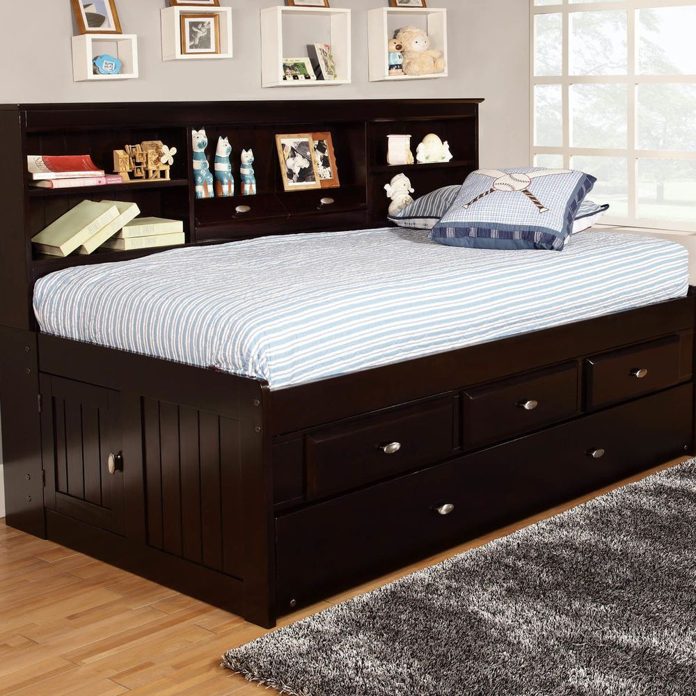 Trundle bed for teenagers - Daybed With Trundle Bookcase 4 Drawers Twin Captains Day Bed Teen Kids Furniture Discoveryworldfurniture