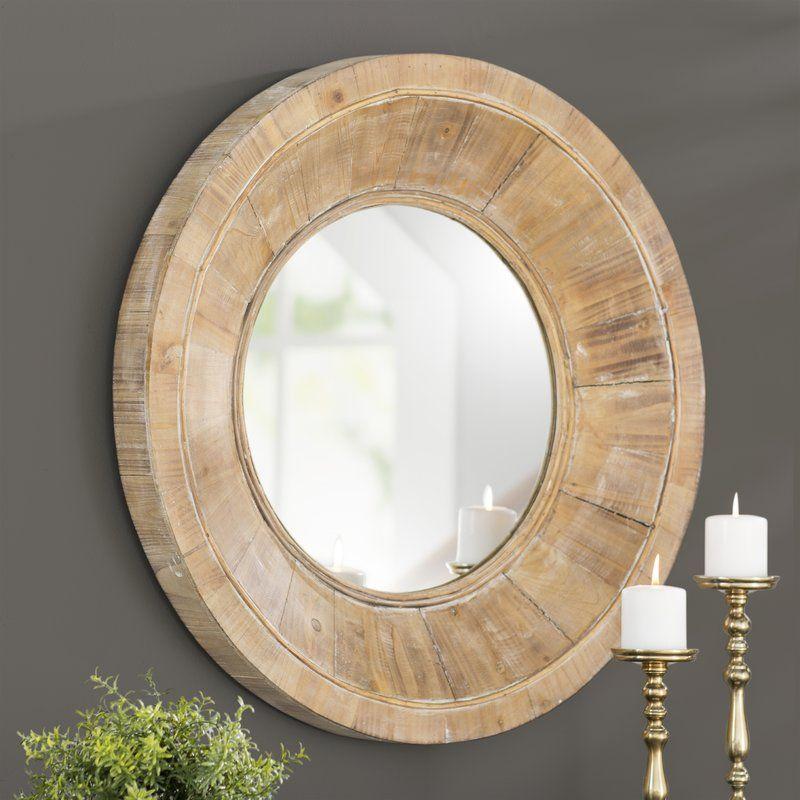 Edford Circular Wooden Wall Accent Mirror Wooden Mirror Frame