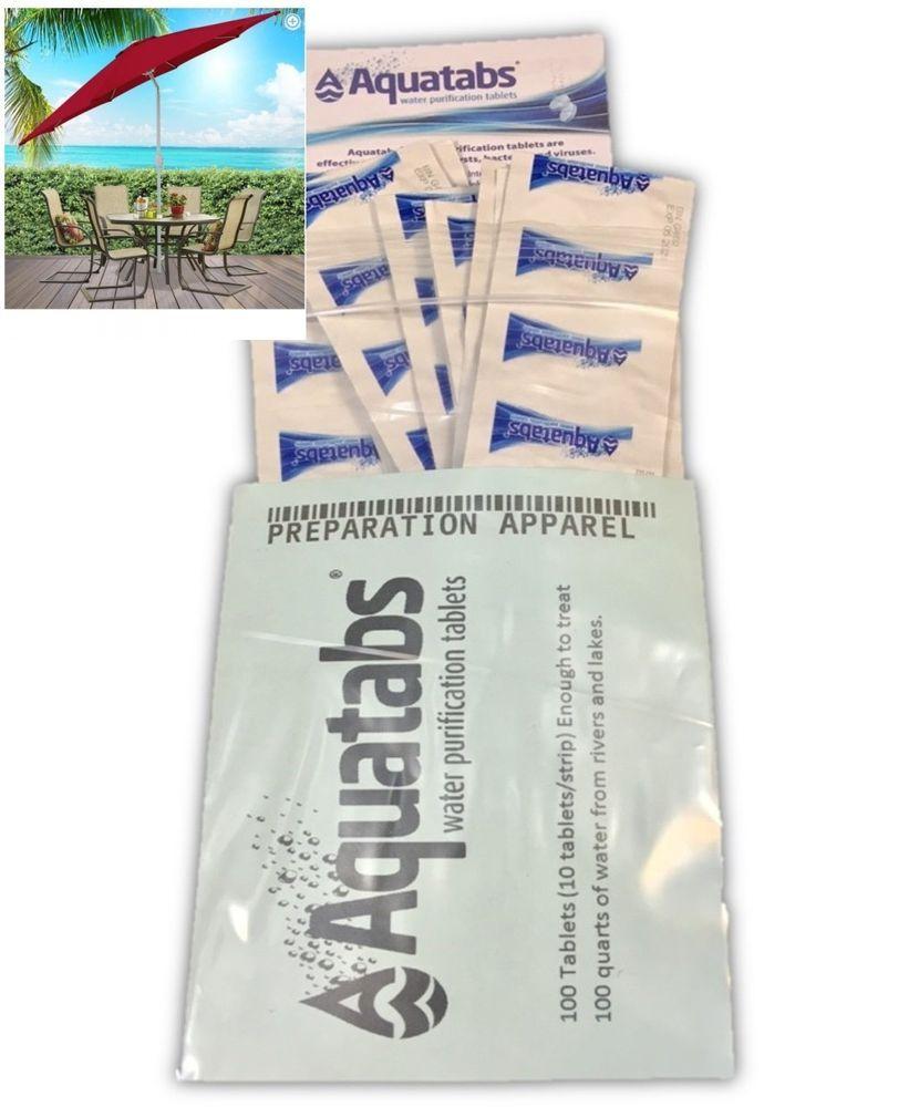 Water Purification Aquatabs 100/pack Tablets Treats Up To 200 Quarts Of  Water #Aquatabs