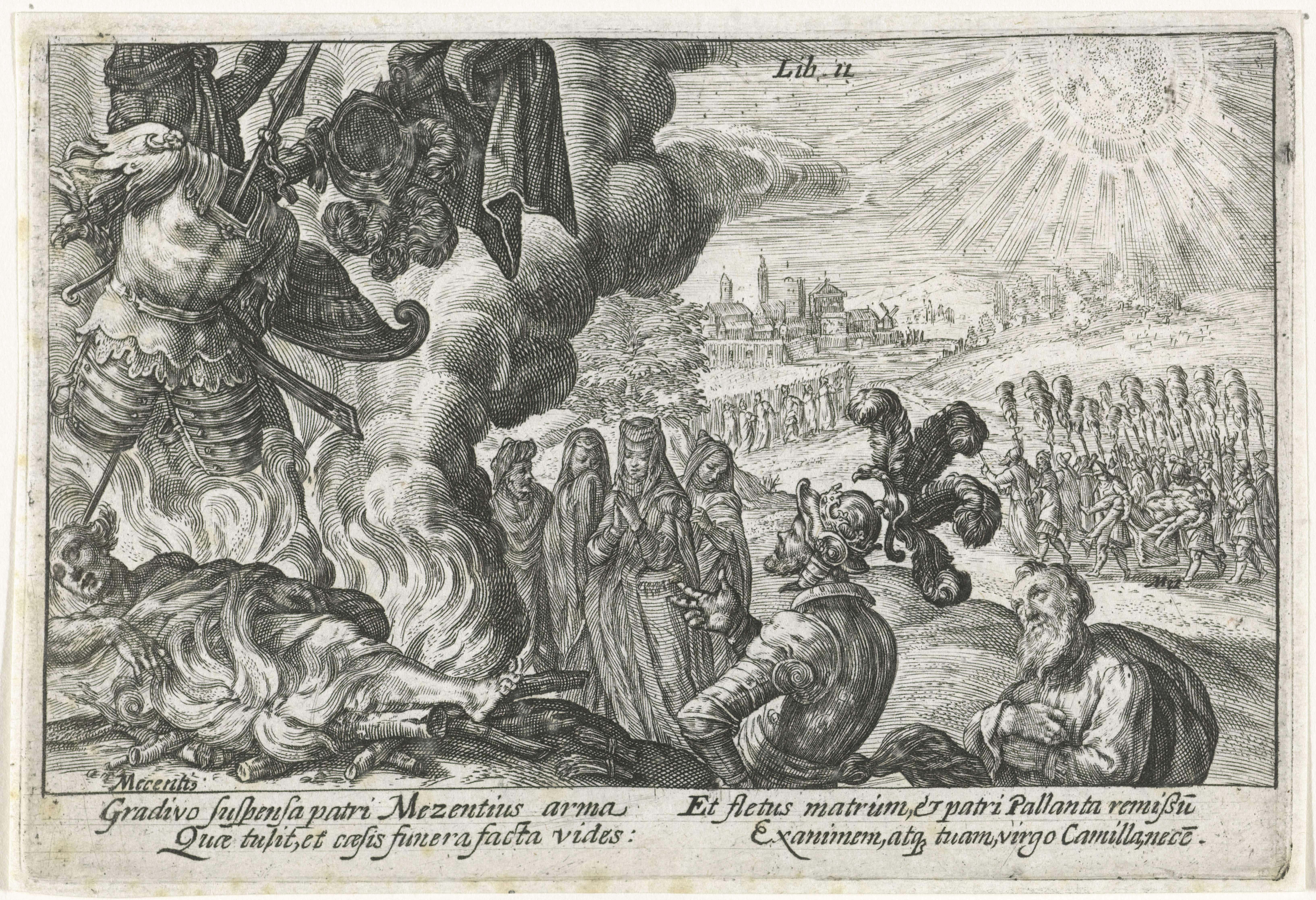 Crispijn van de Passe (I) | Verbranden van de doden, Crispijn van de Passe (I), 1612 | Aeneas laat het lichaam en de wapens van Mezentius verbranden, als offer aan Mars. Treurende vrouwen kijken toe. Rechts op de achtergrond wordt het lichaam van Pallas naar zijn vader Evander gebracht. In de marge een vierregelig onderschrift, in twee kolommen, in het Latijn.
