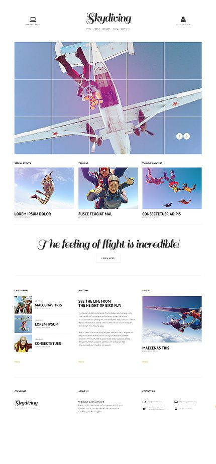Skydiving Responsive Website Template  Skydiving Website And