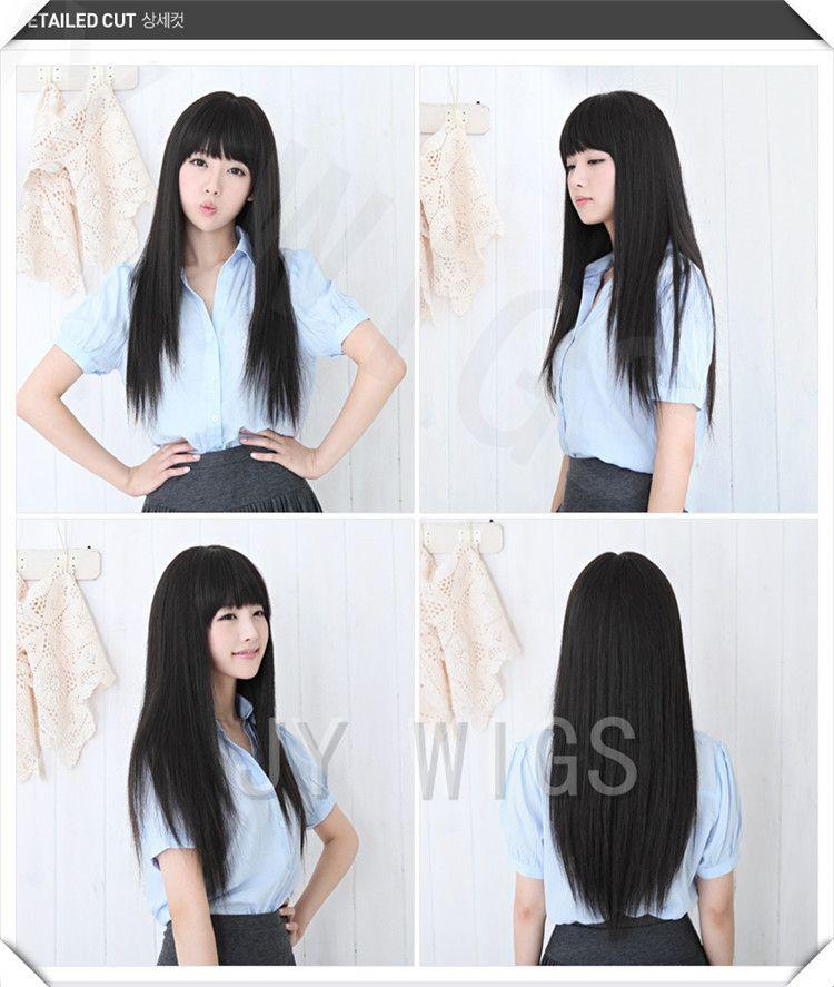 Larga peluca recta negro lindo Fringe Sexy Womens Girls Cosplay del partido del pelo pelucas larga negro peluca recta