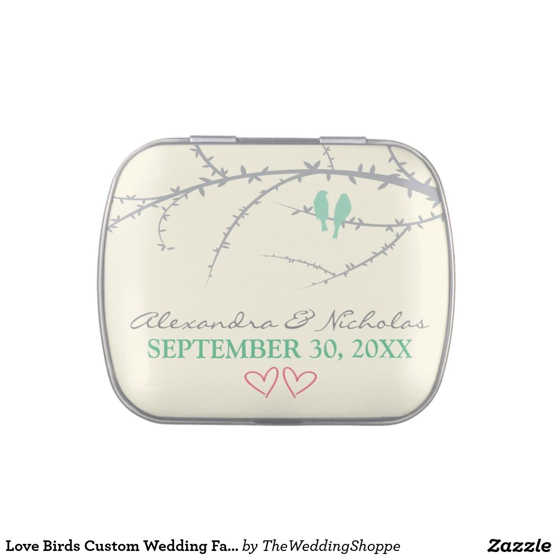 Love Birds Custom Wedding Favor Tins (mint green) Jelly Belly Tin ...