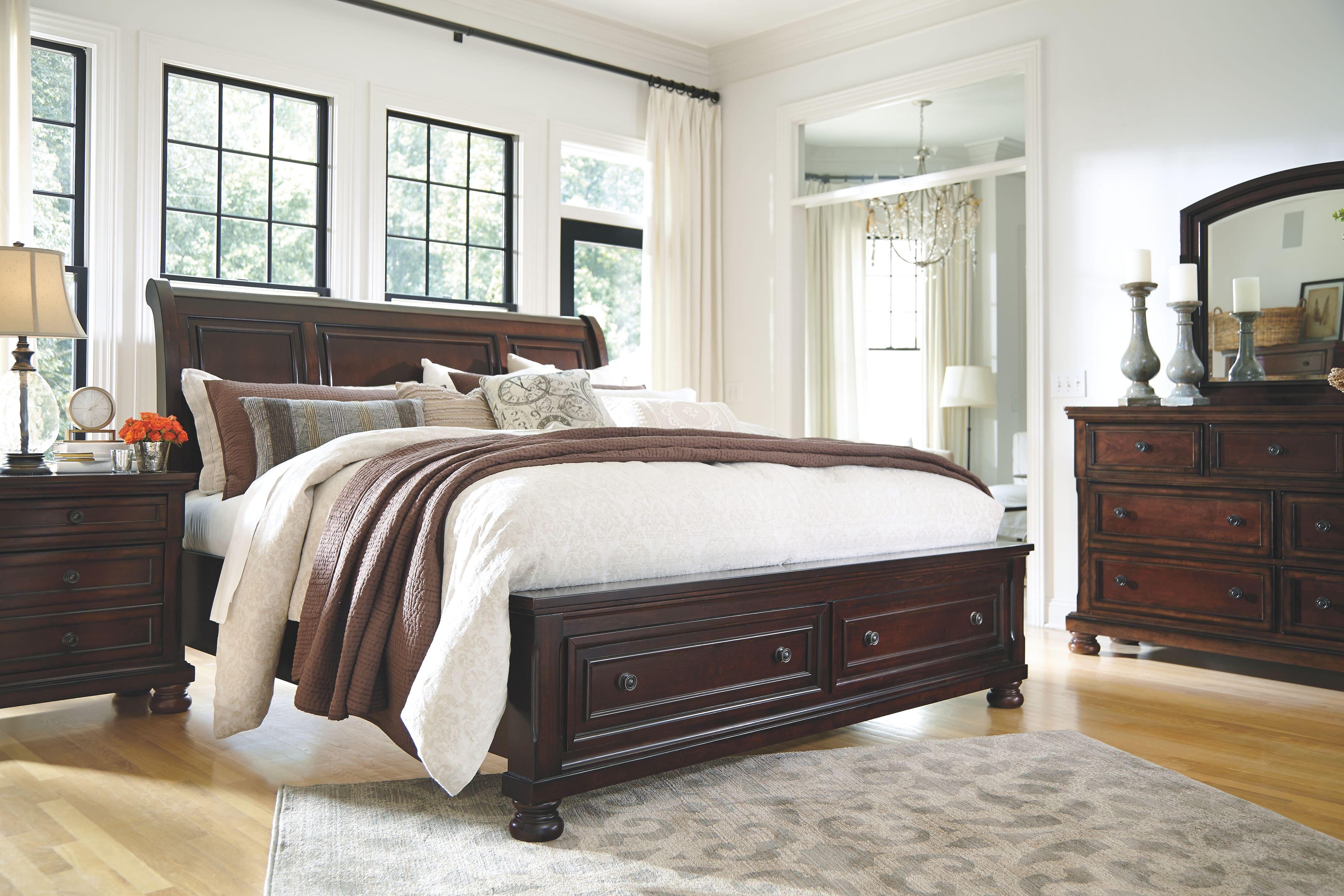 Porter Queen Sleigh Bed Rustic Brown Ashley Furniture Bedroom
