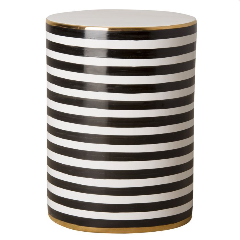 High Quality Black, White And Gold Striped Garden Stool   Mecox Gardens