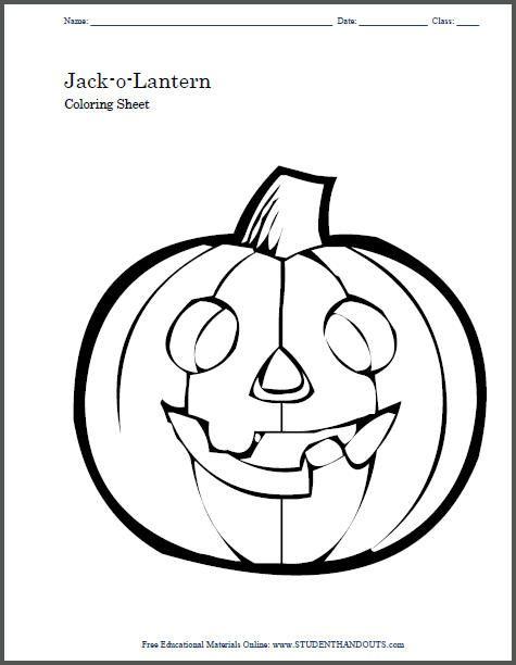 Jack-o-Lantern Free Printable Coloring Sheet for Kids ...
