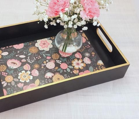 Decorative Ottoman Tray Navy Floral Coffee Table Tray  Wooden Ottoman Tray  Table Tray