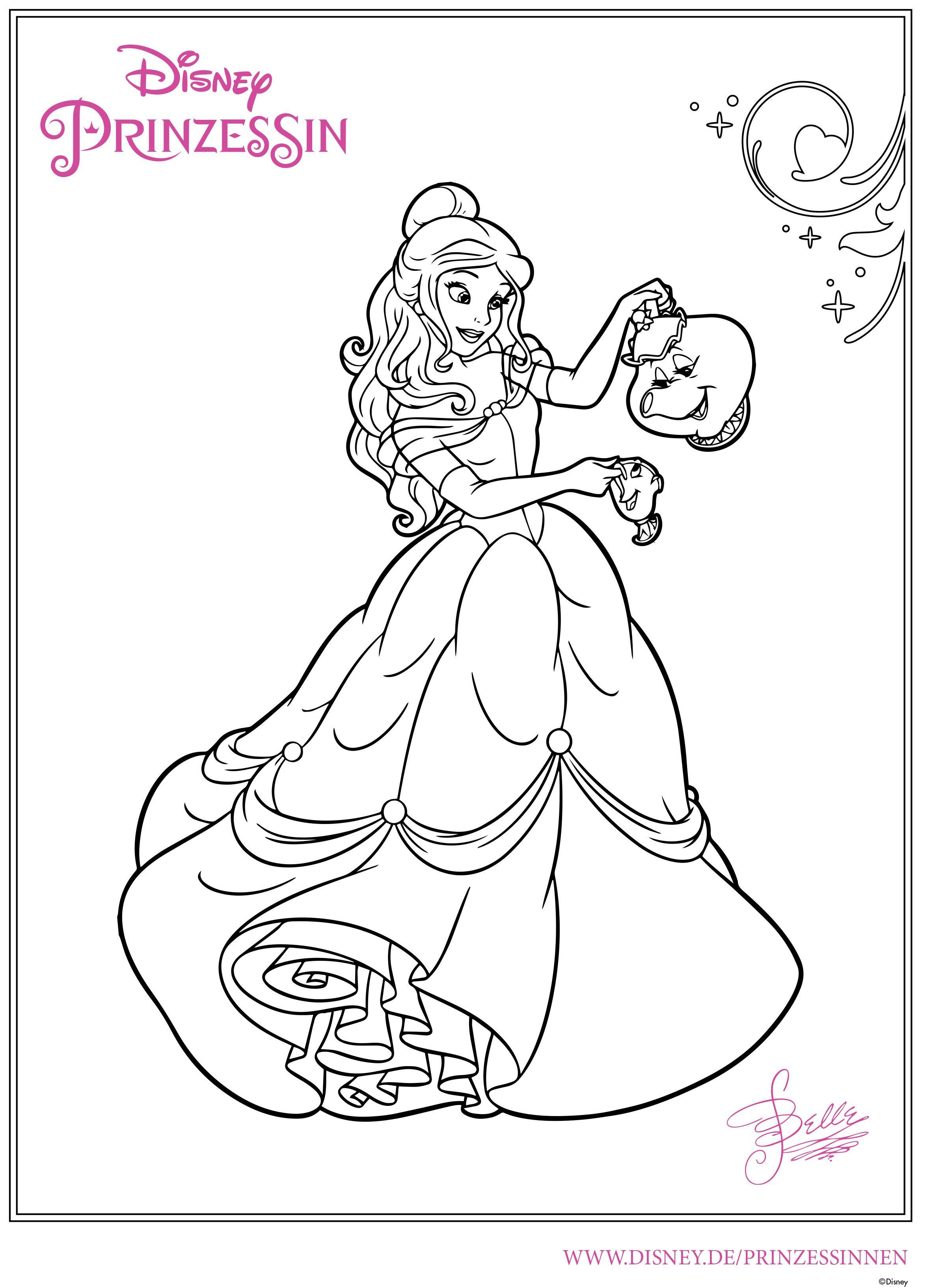 Ausmalbilder Belle 01   Ausmalbilder, Disney malvorlagen ...