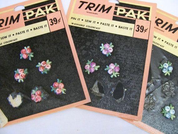 Vintage Trim Sew on Flower Appliques Pink & by VintagePlusCrafts