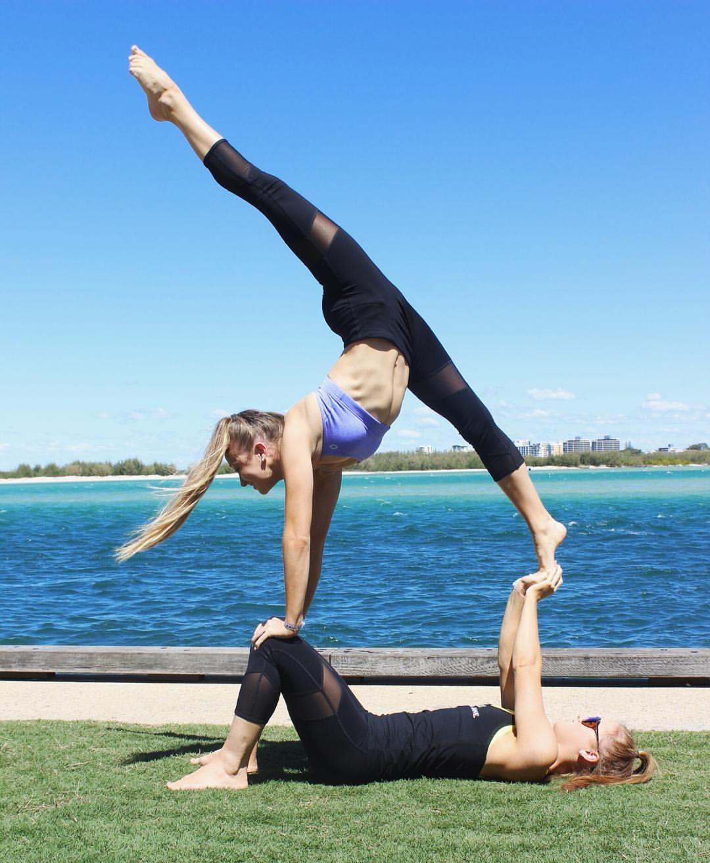 14 8k Likes 34 Comments Teagan Rybka Teagan Rybka On Instagram It S Important To Give It All Partner Yoga Poses Gymnastics Poses Two Person Yoga Poses