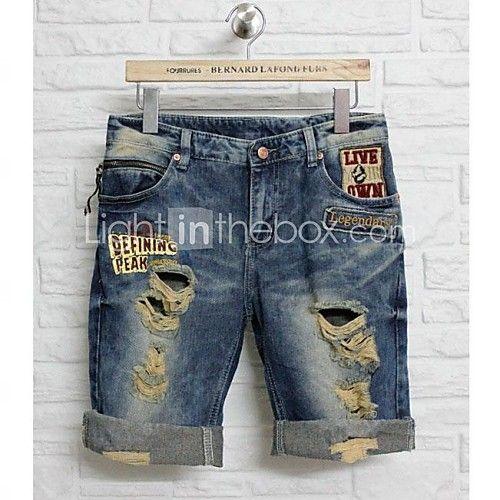 Agujeros Rotos De Los Hombres De Mezclilla Pantalones Cortos 2017 41 99 Hombres De Mezclilla Pantalones De Hombre Moda Ropa Cool Para Hombre