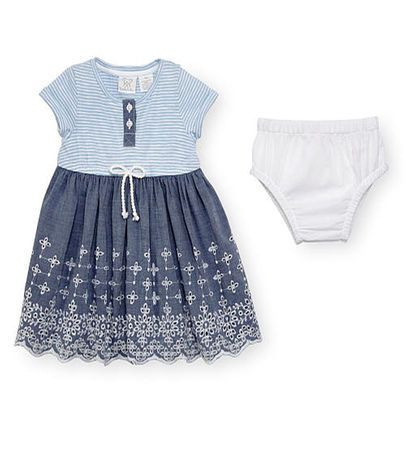 Koala Baby Girls Blue Short Sleeve Striped Bodice Dress with Eyelet Skirt and Waist Bow Detail