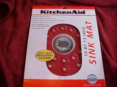 Superbe NEW KitchenAid Red Silicone Sink Mat Cushion 10 X 13   1