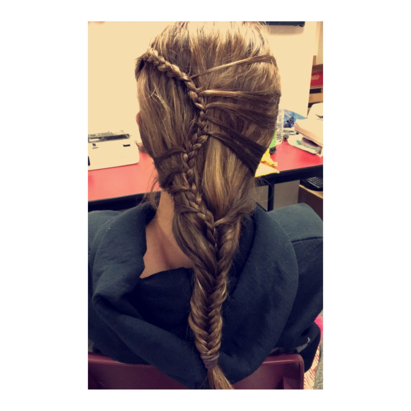 Played around with my friends hair during school! So please with the result... Mermaid braid into a fishtail