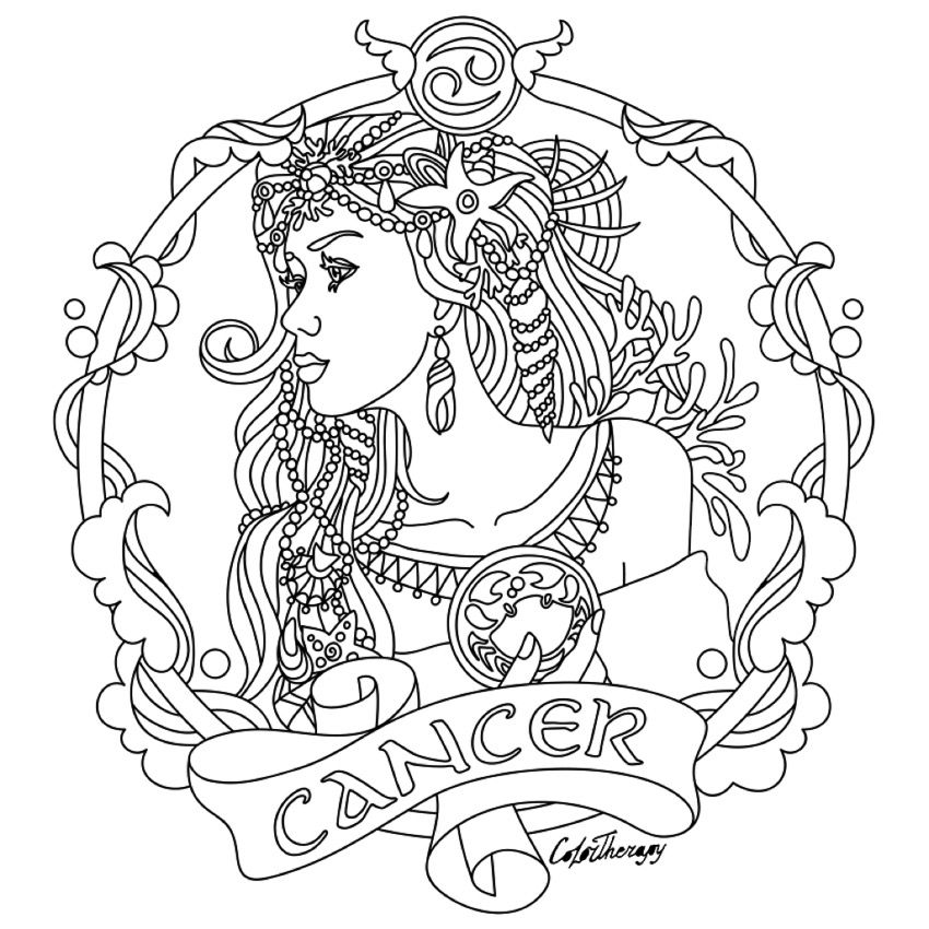 Cancer Zodiac Beauty Colouring Page PagesColoring