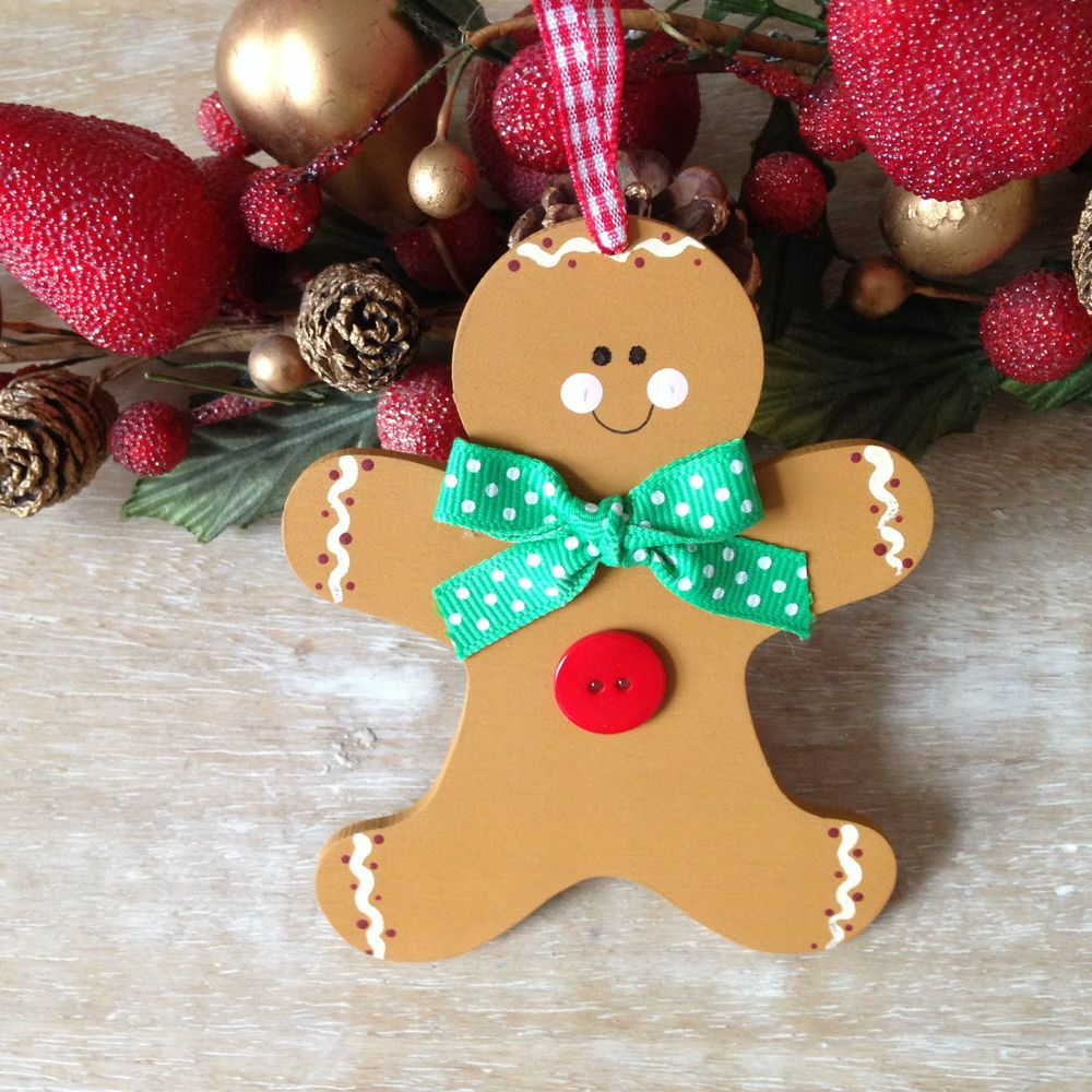 Wooden Christmas Gingerbread Man Christmas Tree Decoration Gifts Christmas Tree With Gifts Christmas Ornaments Homemade Christmas Gingerbread