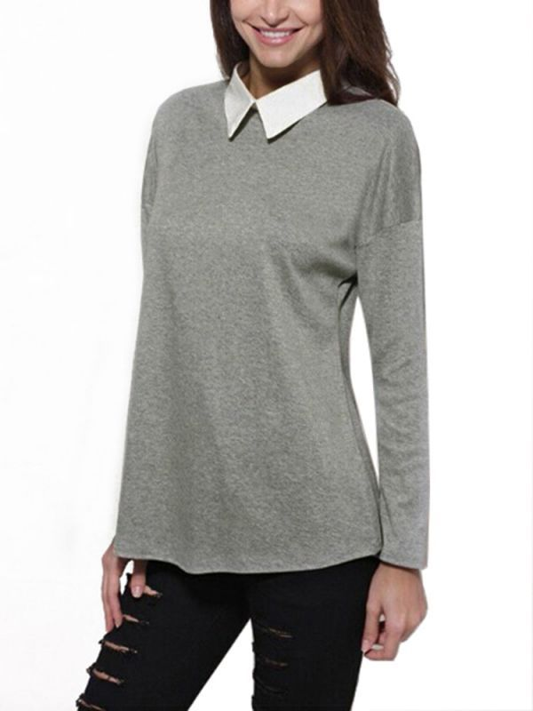 Casual Loose Women Lapel Long Sleeve Pullover Blouse 8217 S Blouses Online