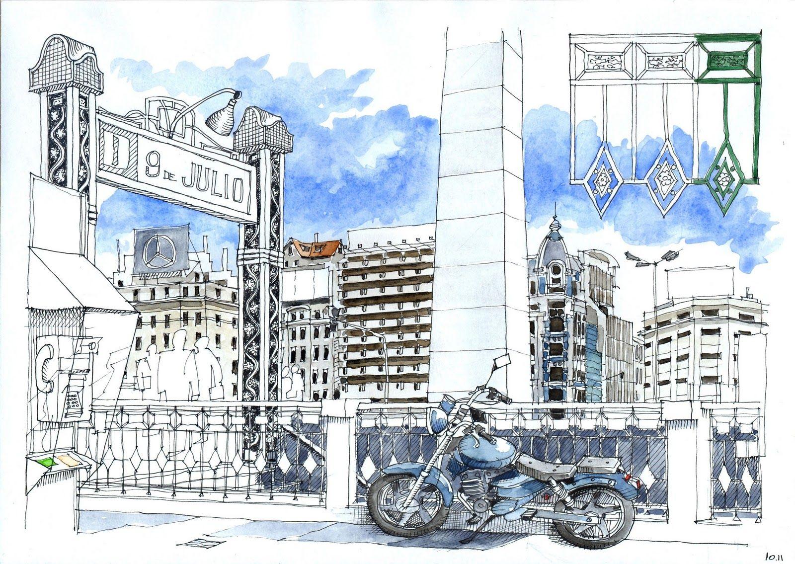 Obelisco 1 Dibujo Urbano Dibujo De Arquitectura Ilustracion De Pintura