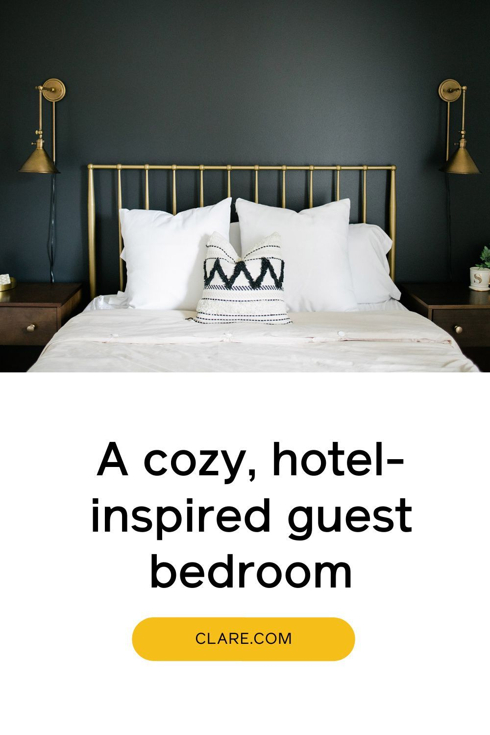 How To Style A Black Accent Wall In A Bedroom Clare In 2021 Black Accent Walls Accent Wall Bedroom Accent Wall