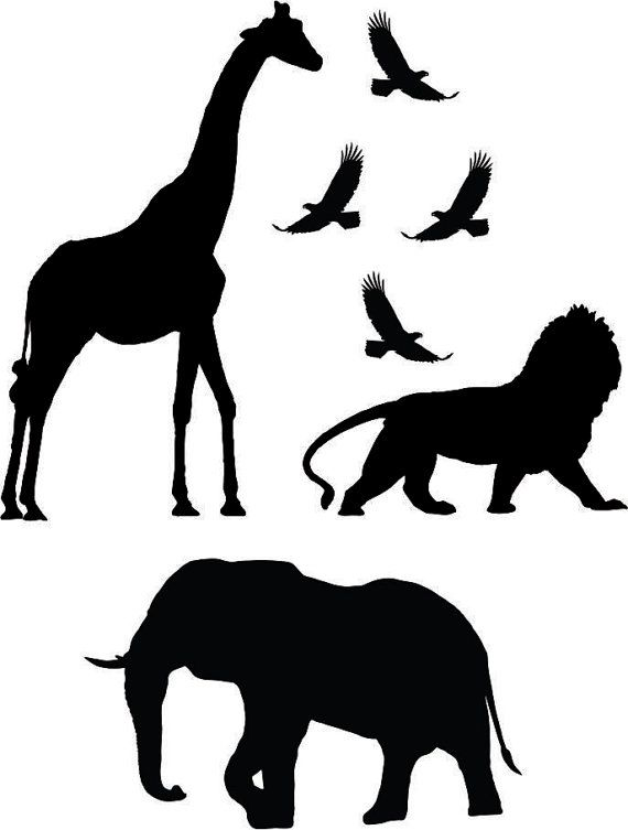 Safari Animales Jirafa Leon Elefante Aves Etiqueta Por Boopdecals Sombras De Animales Siluetas Animales Pajaro Silueta