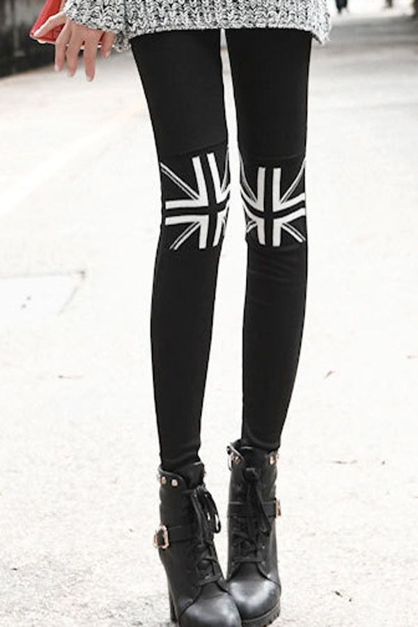 Union Jack Pattern Knee Leggings - OASAP.com | Union Jack Party ...