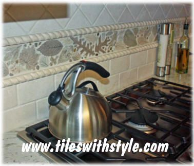Handmade Hand Painted Decorative Ceramic Tile Leaf Tiles Were Used To Create This Beautiful Kitchen Backsplash Border