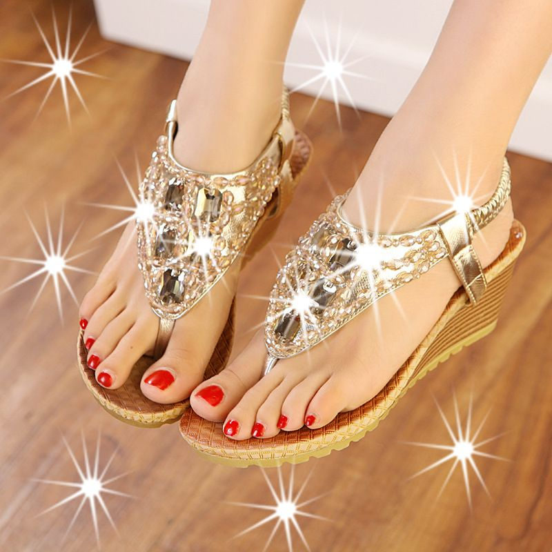 High heel  The new summer sandals and slippers diamond slope with beaded ladies  sandals women sandals shoes