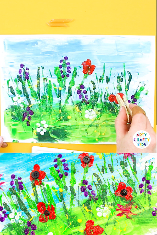 Spring Meadow Painting for Kids - Spring kids art, Spring art projects, Spring art, Spring flower art, Kids art projects, Art drawings for kids - Spring Meadow Painting for Kids  A creative and fun Spring Craft for Kids that encourages children to create without a paintbrush