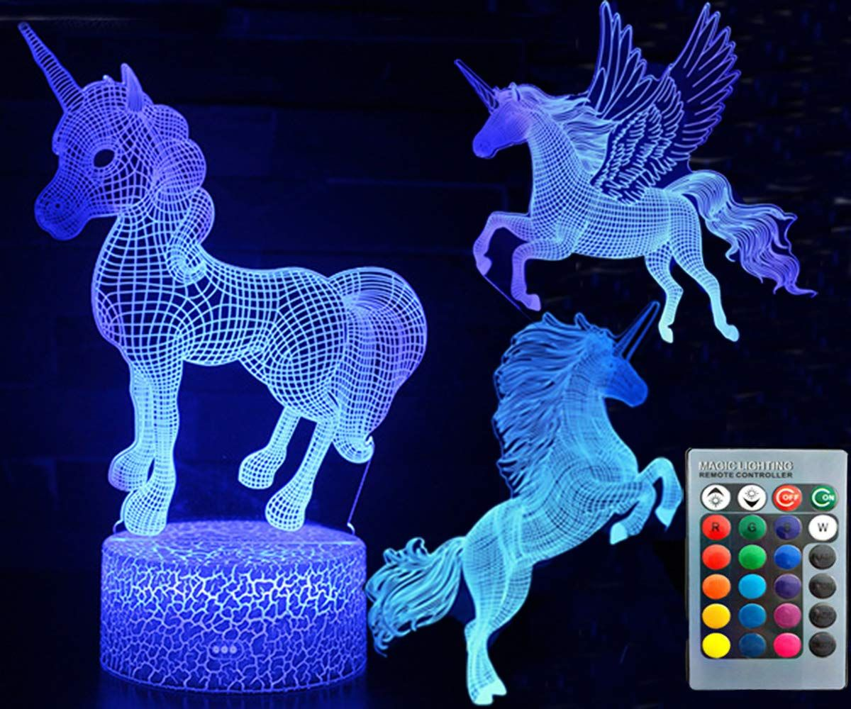 3d Unicorn Night Light Three Pattern And 7 Colors Change Decor Lamp With Remote Control Optical Illusion As A Gift Ideas F With Images Night Light Color Change Boy Or Girl