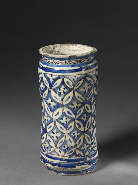 Drug jar      Place of origin:      Coimbra, Portugal (probably, made)     Date:      ca. 1675-1700 (made)     Artist/Maker:      unknown (production)     Materials and Techniques:      Tin-glazed earthenware     Museum number:      C.64-1910
