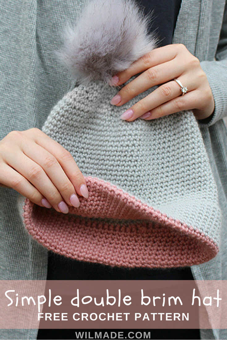 Free #crochet pattern to make this simple double brim #hat on ...