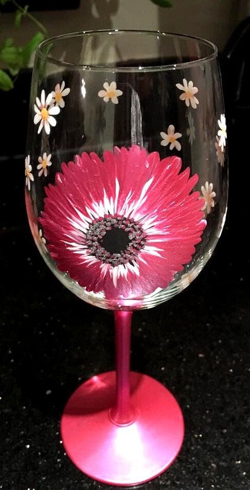 wine glass best friend gift special friend gift hand painted gerbera and daisy rustic style gift for her mothers day gift boho style by