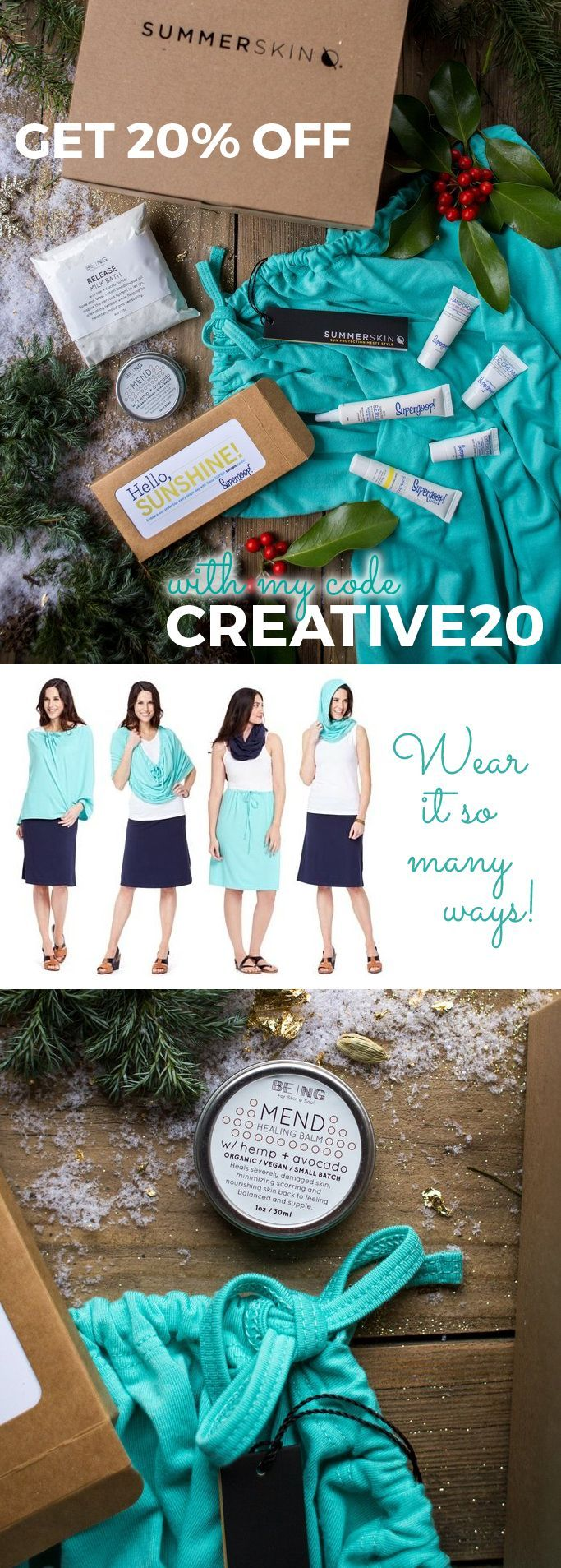 Get 20% off with my code Creative20 - Show your love this holiday season and give the gift of skin health! Summer Skin health boxes are customizable, wrapped in a ribbon and ready to give! They contain the best selling Endless Summer Wrap which can be a cover, infinity scarf, shoulder wrap, skirt, hood, halter top, sun protection, cool evenings and more. With built in UPF 50+, this will make a perfect Christmas gift for women who love the outdoors, moms, mums, grandma or sun-loving teens.