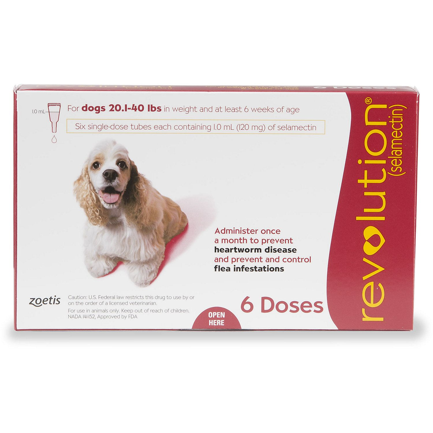 Revolution Topical Solution for Dogs 20.140 lbs. Red, 6