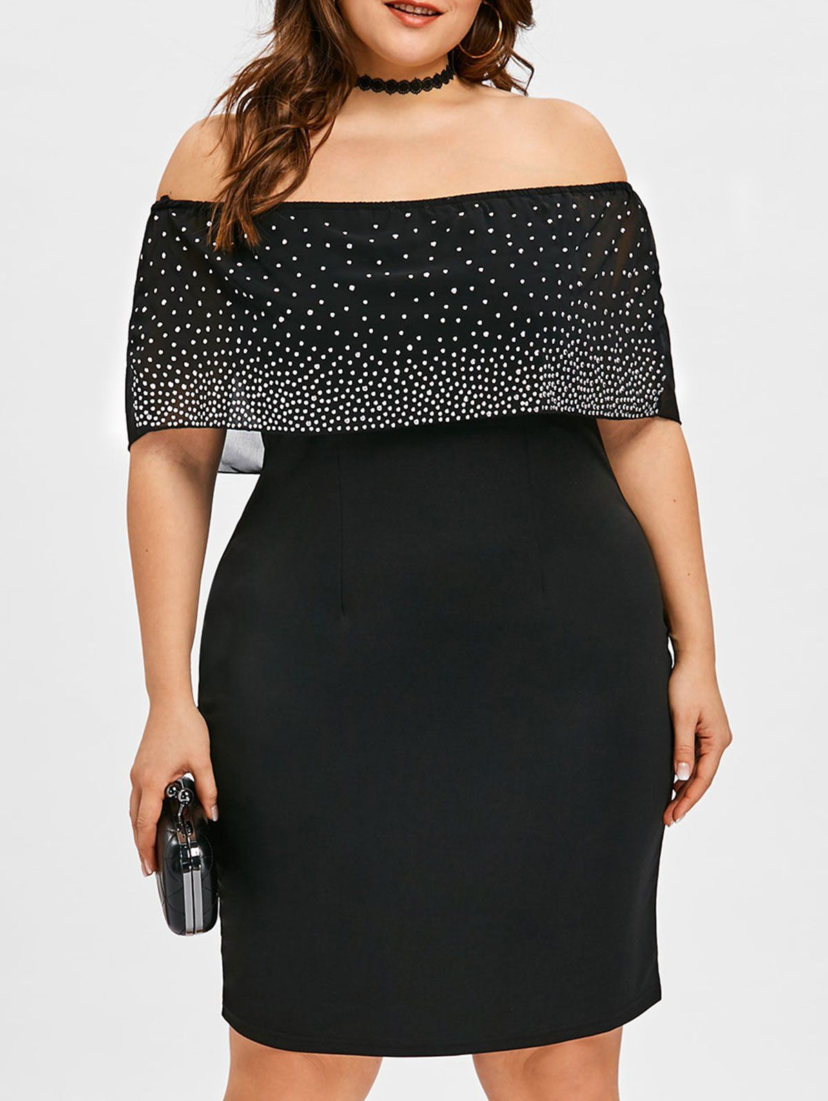 Plus size beading off shoulder overlay dress sammy dress