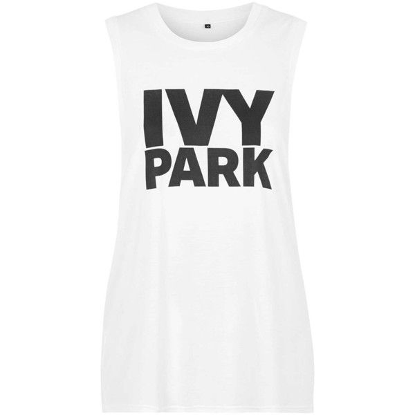 Drop Armhole Tank by Ivy Park (£15) ❤ liked on Polyvore featuring tops, ivy park, tank tops, oversized tank tops, white top, oversized tank, relaxed fit tops and topshop tops
