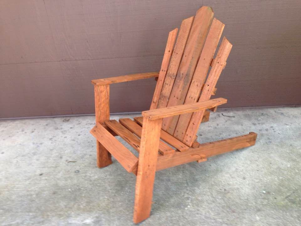 Adirondack Chair Made Entirely From Pallet Wood Stained With